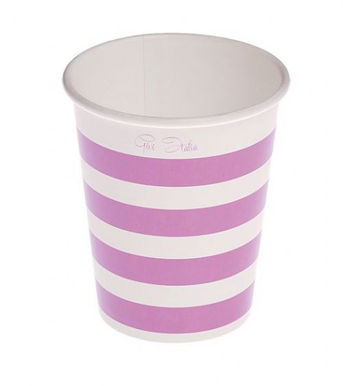 Stripe Cups Card 250cc Purple 10's Disposable Party Tableware